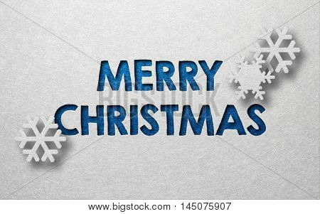 Merry Christmas card design with snowflakes and textured blue text on a grey background with copy space for your seasonal message