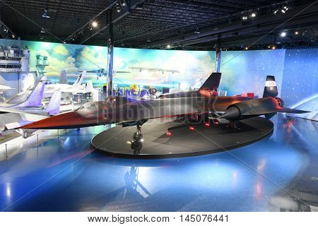 Kalamazoo, MI, USA - June 23, 2016: Lockhhed SR-71B Blackbird on display at the Air Zoo Museum in Kalamazoo, Michigan