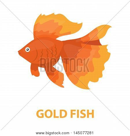 Gold fish icon cartoon. Singe aquarium fish icon from the sea, ocean life cartoon.