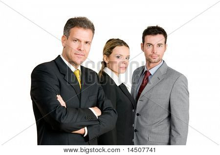 Business team with mature businessman leading the group isolated on white background