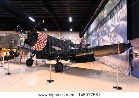 Kalamazoo, MI, USA - June 23, 2016: Vought F4U Corsair on display at the Air Zoo Museum in Kalamazoo, Michigan
