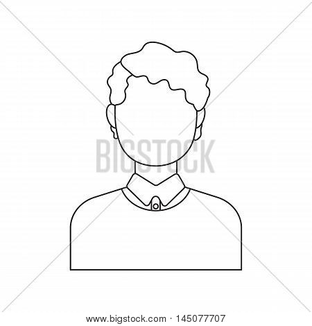 Curly boy icon line. Single avatar, peopleicon from the big avatar line.