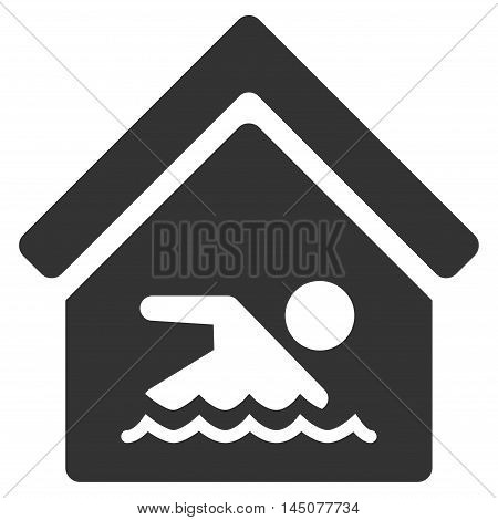 Indoor Water Pool icon. Vector style is flat iconic symbol, gray color, white background.