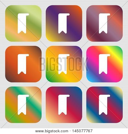 Bookmark Icon. Nine Buttons With Bright Gradients For Beautiful Design. Vector