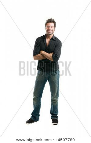 Happy smiling fashion latin man standing isolated on white background