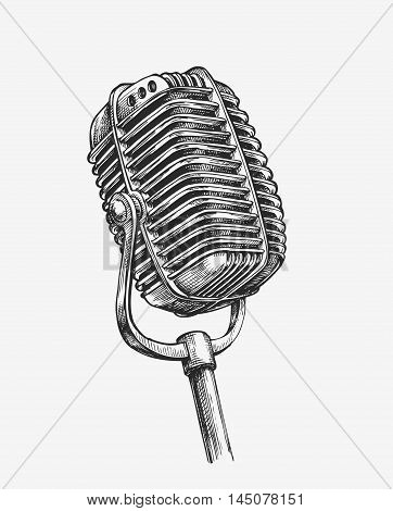 Hand drawn vintage microphone. Sketch karaoke. Vector illustration