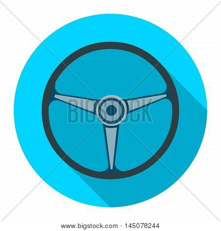 Steering wheel icon flat style. Single silhouette auto parts icon from the big car flat - stock vector
