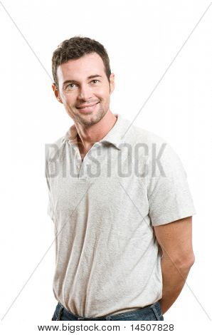 Smiling young casual man looking at camera with confidence, isolated on white background