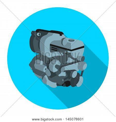 Car engine icon flat. Single car repair part symbol.