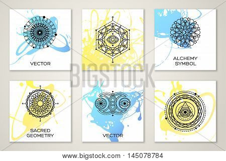 Set of Watercolor Painted Cards with Alchemy Symbols. Design for Flyers, Placards, Posters, Invitations, Brochures. Artistic Creative Templates. Blue and Yellow Paint Splashes.