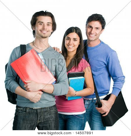 Happy smiling latin students standing together with books isolated on white background