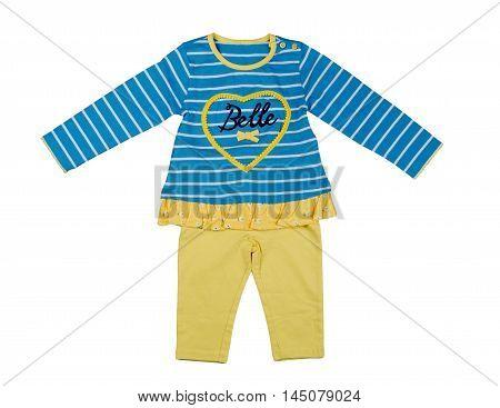 Set children clothing. Isolate on white. nobody