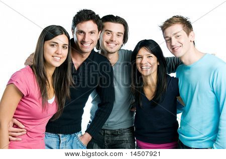 Happy smiling group of young friends standing and embracing together isolated on white background