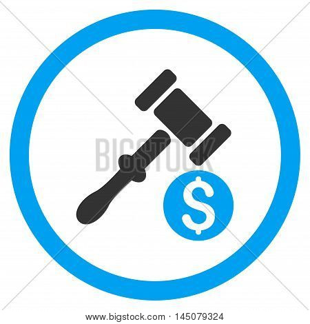 Auction rounded icon. Vector illustration style is flat iconic bicolor symbol, blue and gray colors, white background.