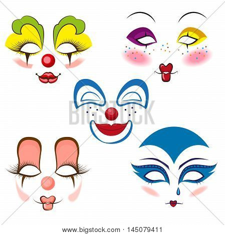 A set of colored clown masks (makeup)