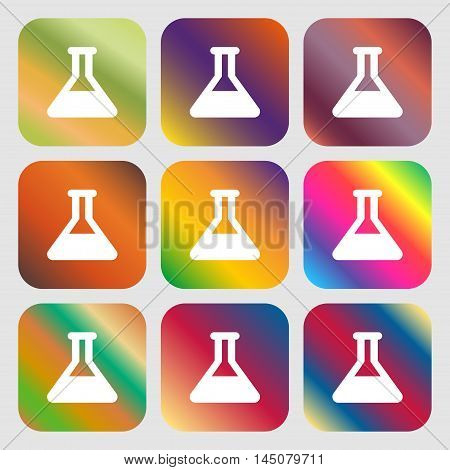 Conical Flask Icon. Nine Buttons With Bright Gradients For Beautiful Design. Vector