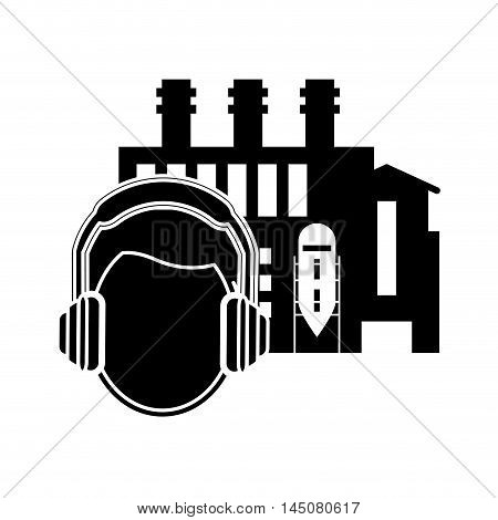 flat design factory and worker with earmuffs icon vector illustration