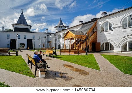 Tobolsk, Russia - July 15, 2016: Interior of Guest Yard. The building of Gostiny dvor is built in 1703 - 1706 on the project of the architect, cartographer and historian of Siberia S. U. Remezov