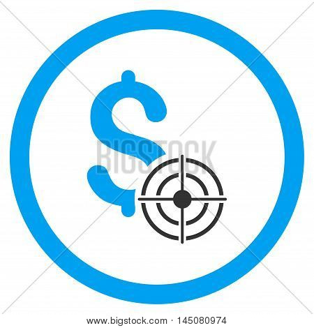 Business Target rounded icon. Vector illustration style is flat iconic bicolor symbol, blue and gray colors, white background.