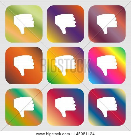 Dislike, Thumb Down, Hand Finger Down Icon. Nine Buttons With Bright Gradients For Beautiful Design.