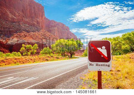 No Hunting, Capital Reef National Park, Utah, Usa