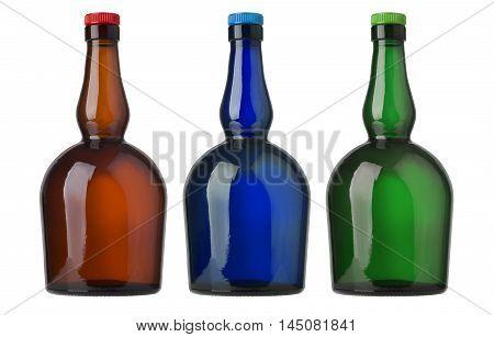Set ofr glass bottles isolated on white background. beverage lemonade soda juice liquor syrup