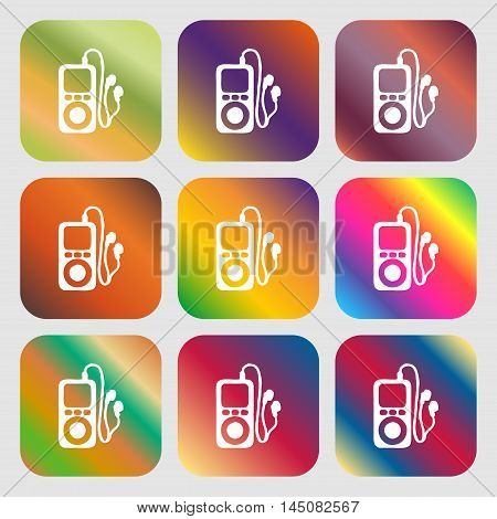 Mp3 Player, Headphones, Music Icon. Nine Buttons With Bright Gradients For Beautiful Design. Vector