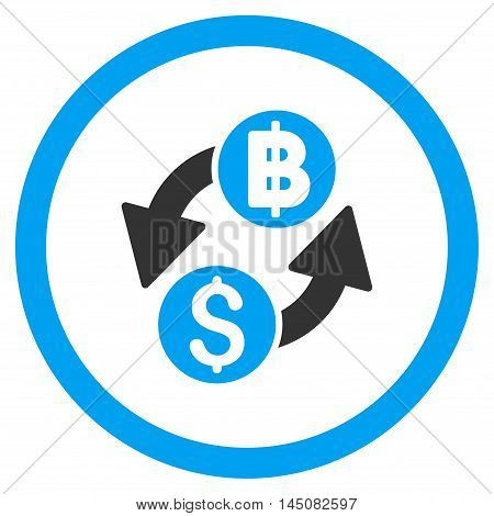 Dollar Baht Exchange rounded icon. Vector illustration style is flat iconic bicolor symbol, blue and gray colors, white background.