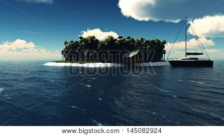 View of a island in a blue water with a yacht as a concept for quiet vacations. 3D Illustration