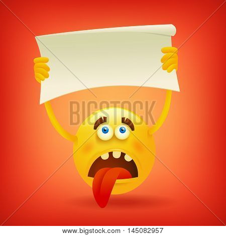 Sad yellow smiley sphere face with banner in hands. Vector illustration
