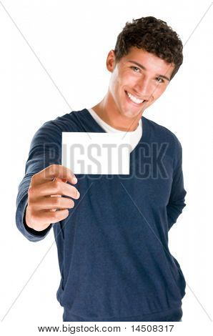 Young smiling latin man holding blank white card to write it on your own text isolated on white background