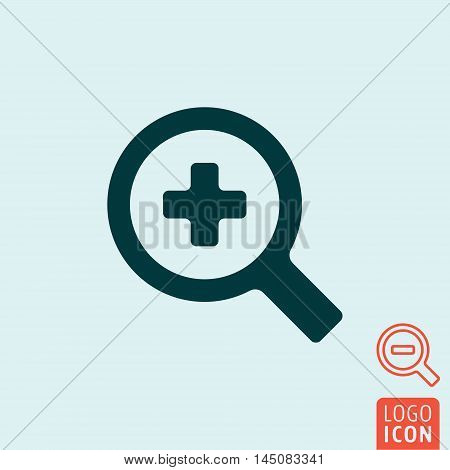 Magnifier glass icon. Zoom in - zoom out symbol. Vector illustration