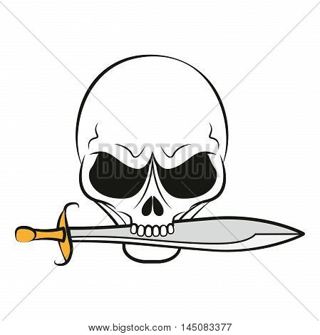 Pirate sign: a skull with knife in teeth