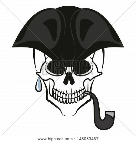 Pirate skull with hat and Smoking pipe