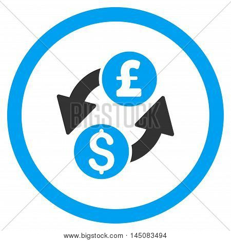 Dollar Pound Exchange rounded icon. Vector illustration style is flat iconic bicolor symbol, blue and gray colors, white background.