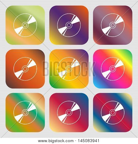 Cd, Dvd, Compact Disk, Blue Ray Icon. Nine Buttons With Bright Gradients For Beautiful Design. Vecto