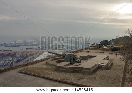 Montjuic Castle Fortress On Jewish Mountain In Barcelona, Spain