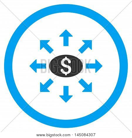 Mass Cashout rounded icon. Vector illustration style is flat iconic bicolor symbol, blue and gray colors, white background.
