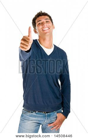 Smiling latin teenager showing thumb up isolated on white background