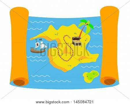 Pirate treasure map colorful flat vector illustration with pirate sailing ship and treasure chest