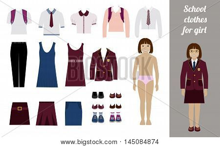 Create school girl kit with full body girl and different uniforms flat vector illustration. Set of female school dress code clothes.