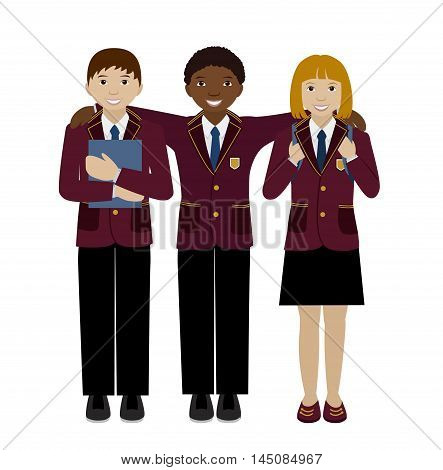 Group of school girl and boy in uniform, Teenager multiracial children isolated on white flat vector illustration, Classmates, friends concept
