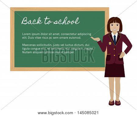 School girl in uniform showing open hand palm presenting something on chalkboard Flat vector illustration
