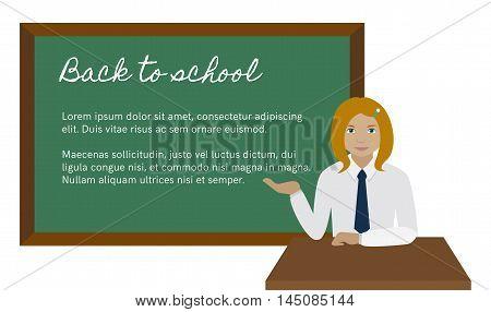 School girl in uniform at desk presenting something on chalkboard Flat vector illustration