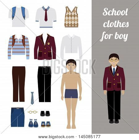 Create school boy kit with full body boy and different uniforms flat vector illustration. Set of male school dress code clothes.