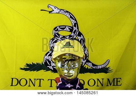 glass head wearing yellow don't tread on me hat and confederate flag scarf with Gadsden flag background