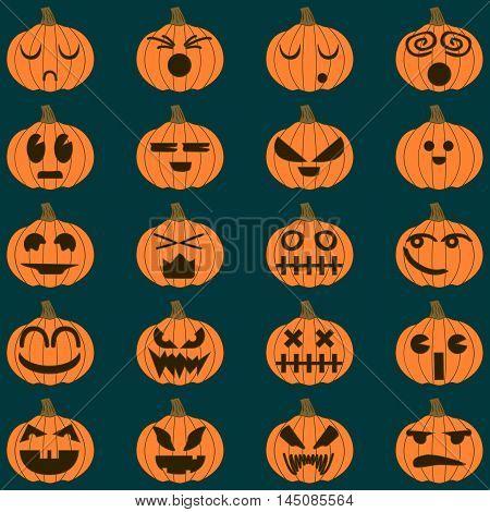 Halloween pumpkin vector 20 icons set, Emotion Variation.
