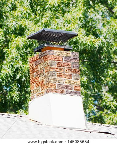 closeup chimney on the roof of background