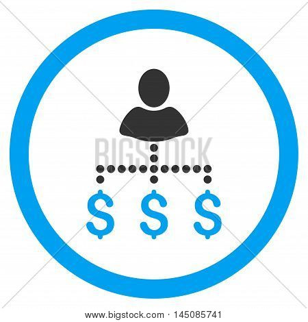 Person Payments rounded icon. Vector illustration style is flat iconic bicolor symbol, blue and gray colors, white background.