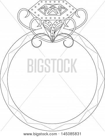 Sketch of wedding ring with precious stone and swirls, vector illustration